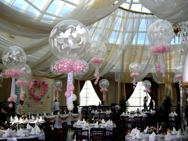 Оформление свадьба шарами